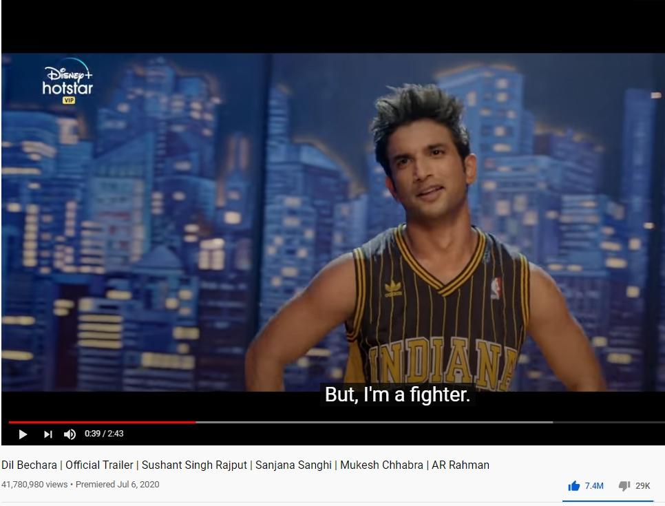 Sushant Singh Rajput's Dil Bechara trailer has an astonish 7.5 million likes on YouTube